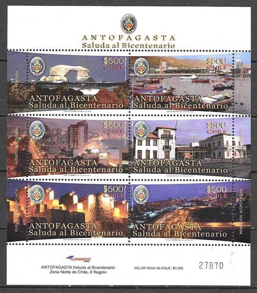colección sellos arquitectura y turismo Chile 2010