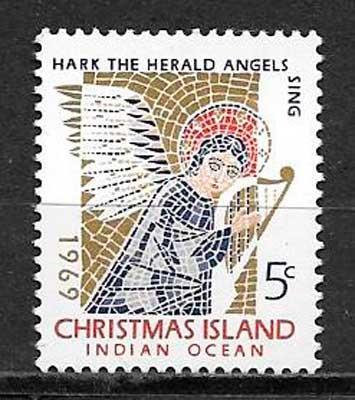 sellos navidad Christmas Island 1969