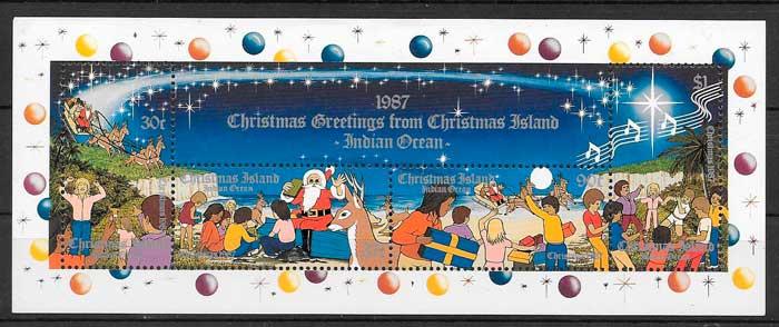 sellos navidad Christmas Island 1987
