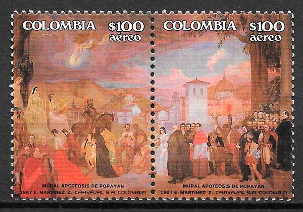 filatelia colección turismo Colombia 1987