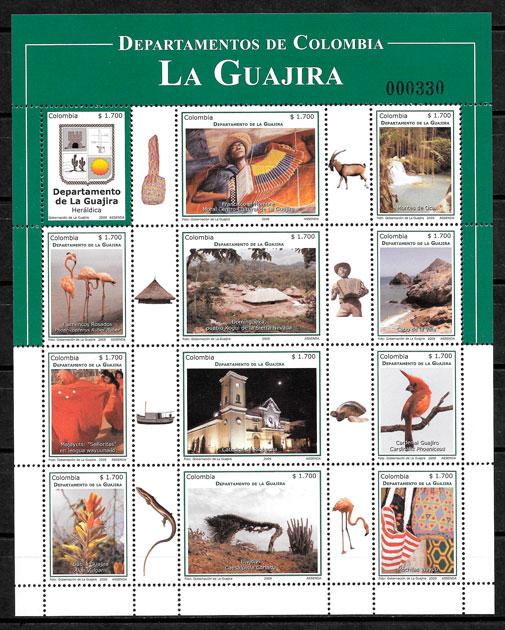 colección sellos turismo Colombia 2009