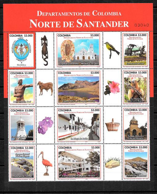 colección sellos turismo Colombia 2011