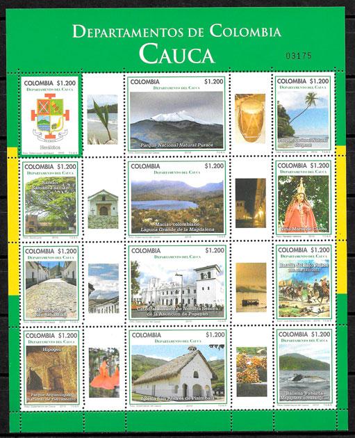 filatelia colección turismo Colombia 2012