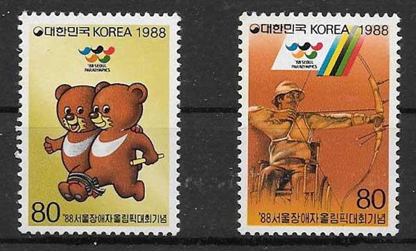 Filatelia Juegos Paralímpicos Corea del Sur