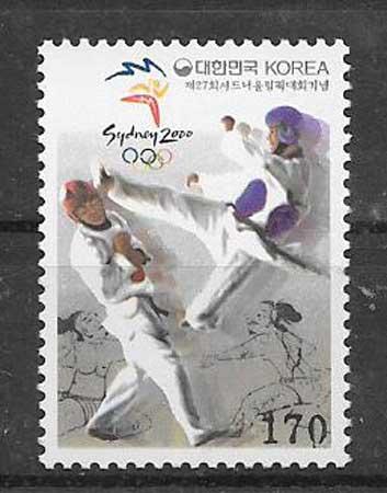 colección sellos deporte Corea del Sur 2000
