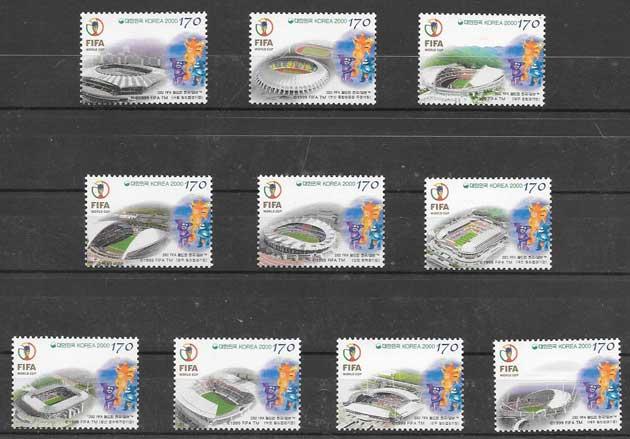 sellos filatelia fútbol Corea del Sur 2000