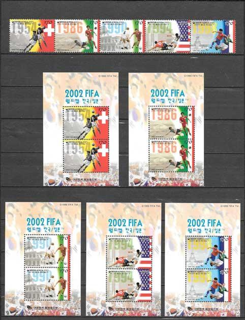 Filatelia fútbol Corea del Sur 2001