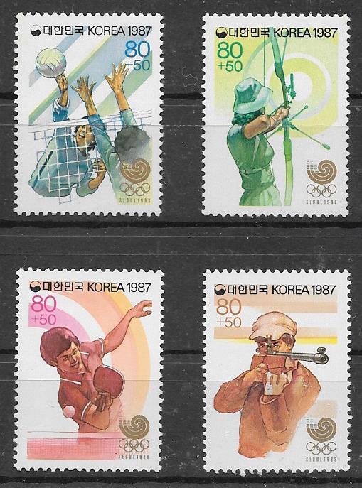 Filatelia deporte Corea del Sur 1987