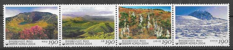 sellos filatelia montañas Corea del sur 2004