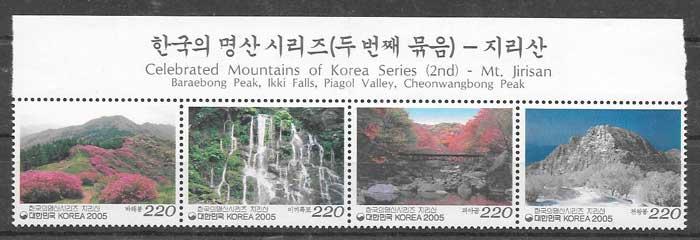 sellos filatelia montañas 2005 Corea del sur