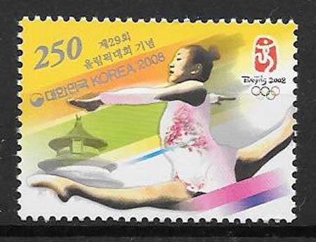 Filatelia deporte Corea del Sur 2008