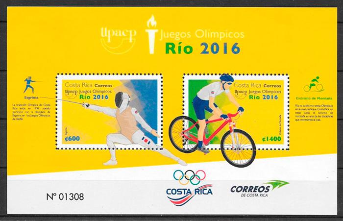 filatelia colección deporte Costa Rica 2016