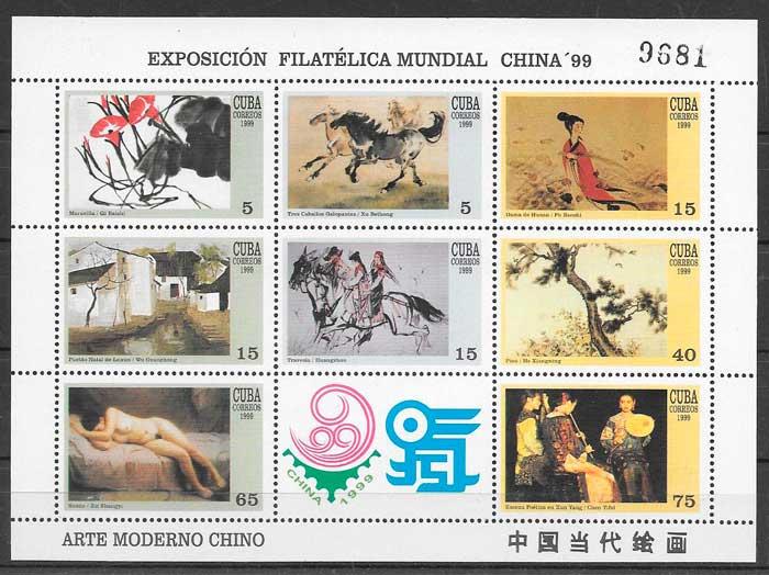 colección sellos arte Cuba 1999