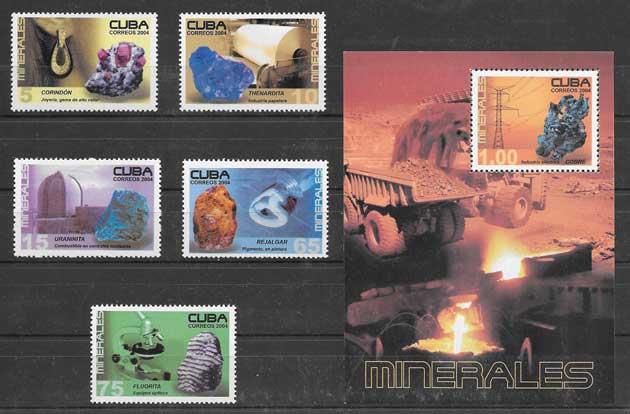 Filatelia sellos minerales Cuba 2004