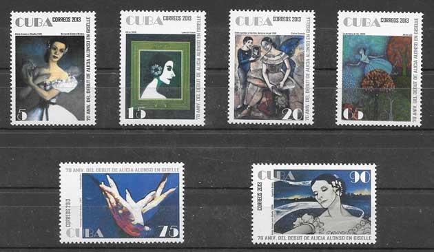 Sellos ballet cubano de Alicia Alonso