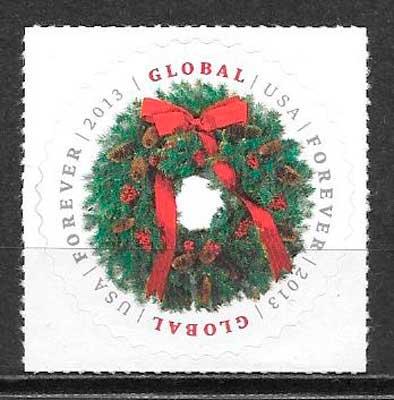 filatelia navidad EE:UU 2013