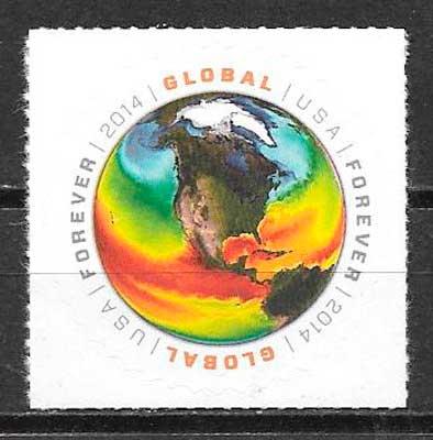 colección sellos espacio EE.UU 2014
