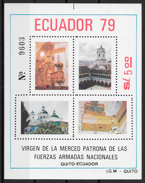 filatelia arquitectura Ecuador 1980