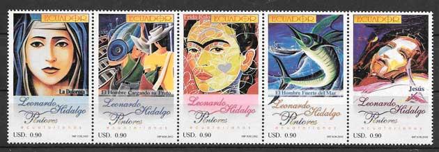 filatelia colección arte Ecuador 2002