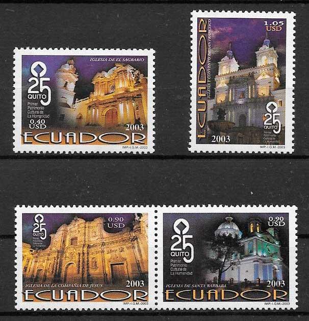 filatelia colección arquitectura Ecuador 2003