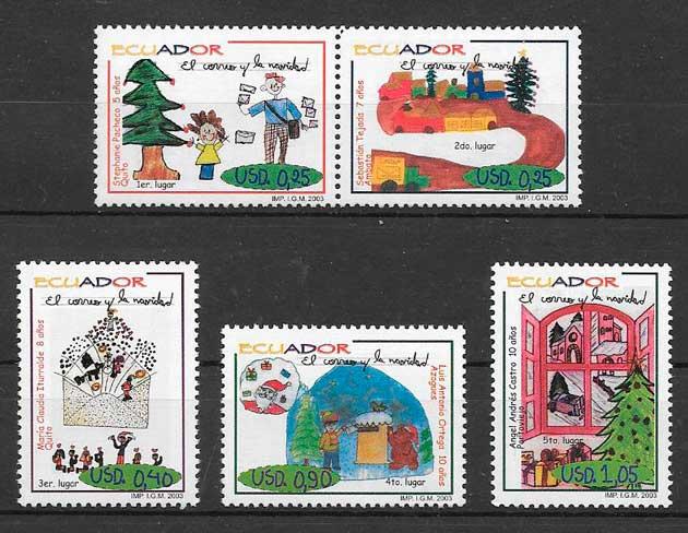 colección sellos navidad Ecuador 2003