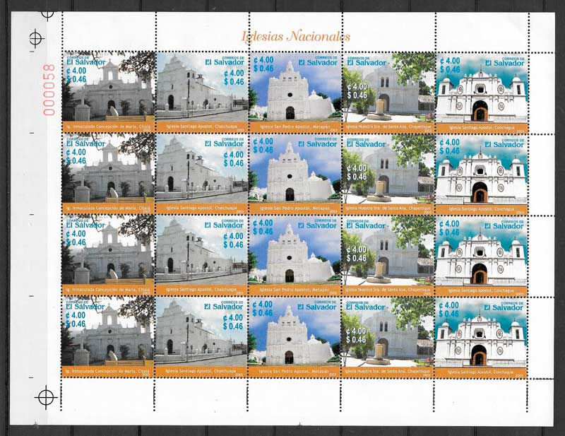 filatelia colección arquitectura El Salvador 2003