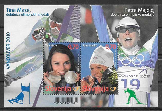 filatelia colección deporte Eslovenia 2010