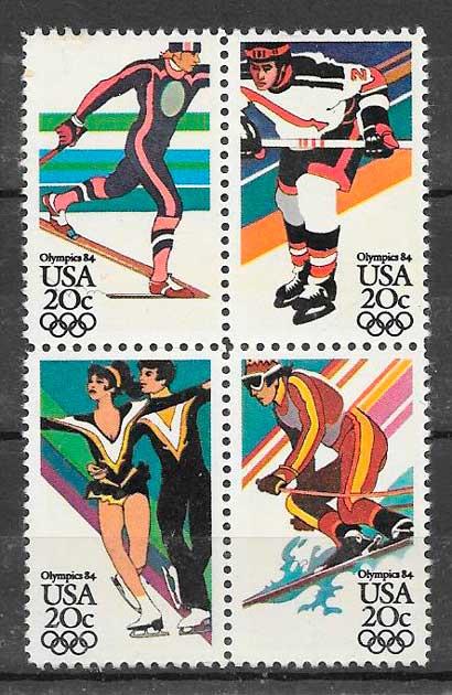 filatelia colección deporte USA 1984