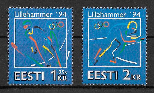 filatelia colección deporte Estonia 1994