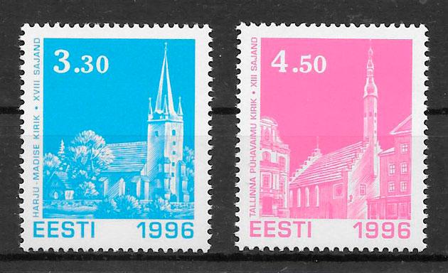 sellos navidad Estonia 1996