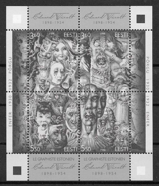 colección sellos arte Estonia 1998