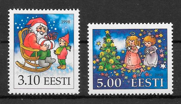 sellos navidad Estonia 1998