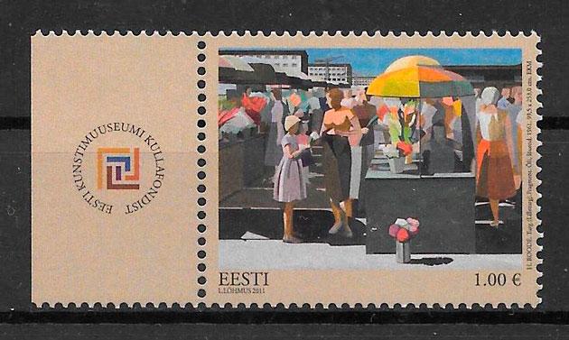 colección sellos arte Estonia 2011