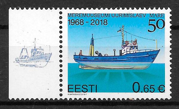 colección sellos transporte Estonia 2018