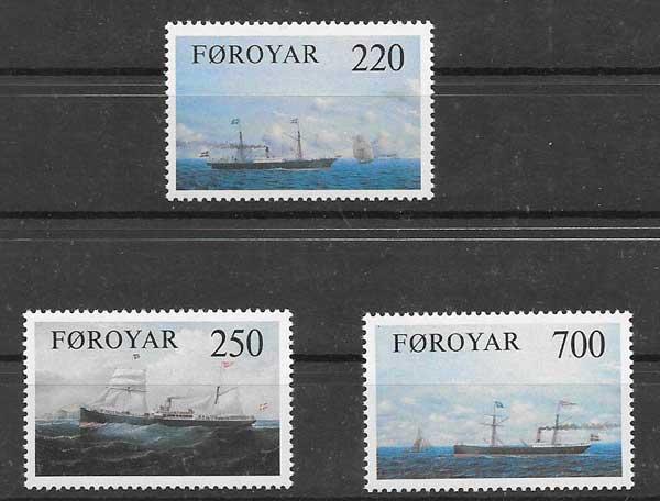 Colección sellos transporte marítimo Feroe 1983