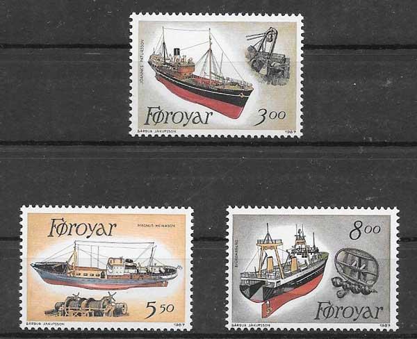 Sellos Filatelia transporte marítimo y pesquero Feroe 1987