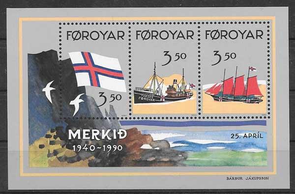 Sellos Filatelia transporte marítimo Feroe 1990