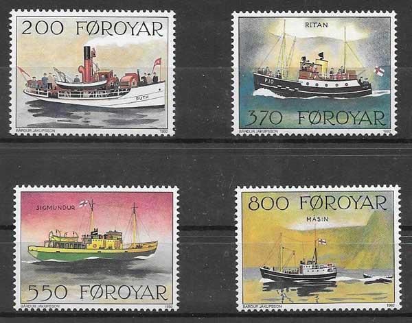 Estampillas barcos Feroe 1992