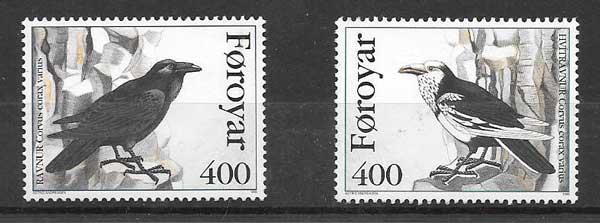Colección sellos fauna - cuervos Feroe 1995