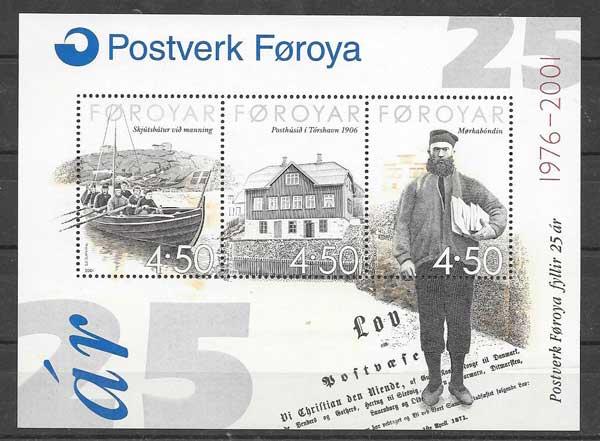 Sellos Hojita Bloc de correos Feroe 2001