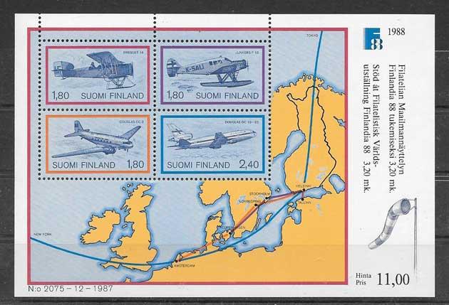 Sellos de Transporte aéreo Finlandia 1988