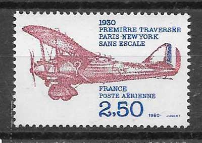 filatelia colección transporte aéreo Francia 1980