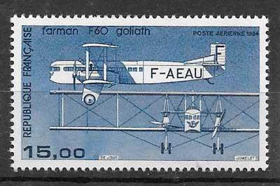 sellos transporte aéreo Francia 1984