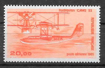 sellos transporte aéreo Francia 1985