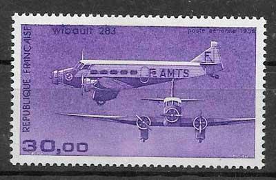 sellos transporte aéreo Francia 1986
