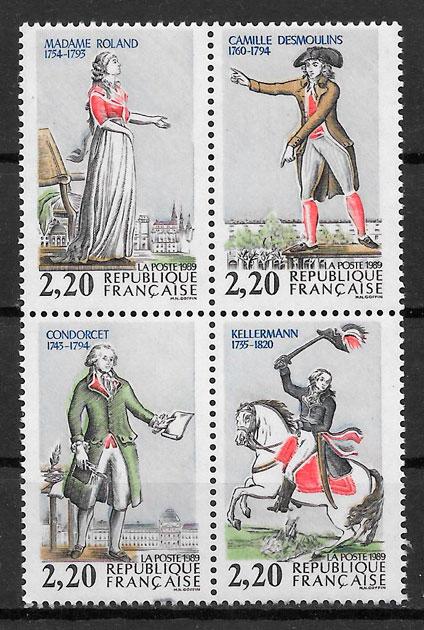 colección sellos personalidades Francia 1989
