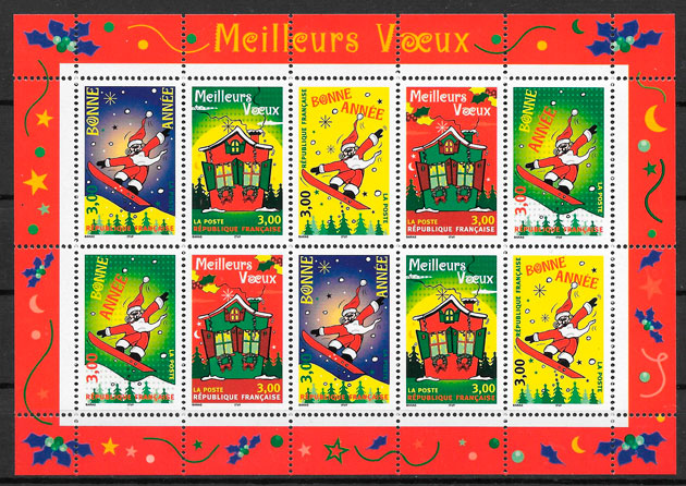 sellos navidad Francia 1998