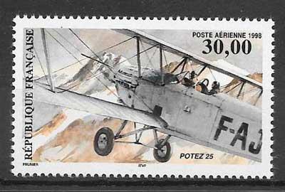 sellos transporte aéreo Francia 1998