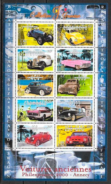 filatelia colección transporte Francia 2000