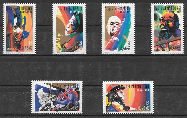 sellos Francia personalidades 2002